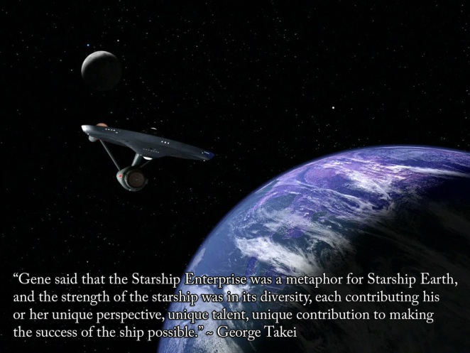 """Wonderfully inspirational quote from George Takei from the TV documentary, """"The Science of Star Trek""""."""
