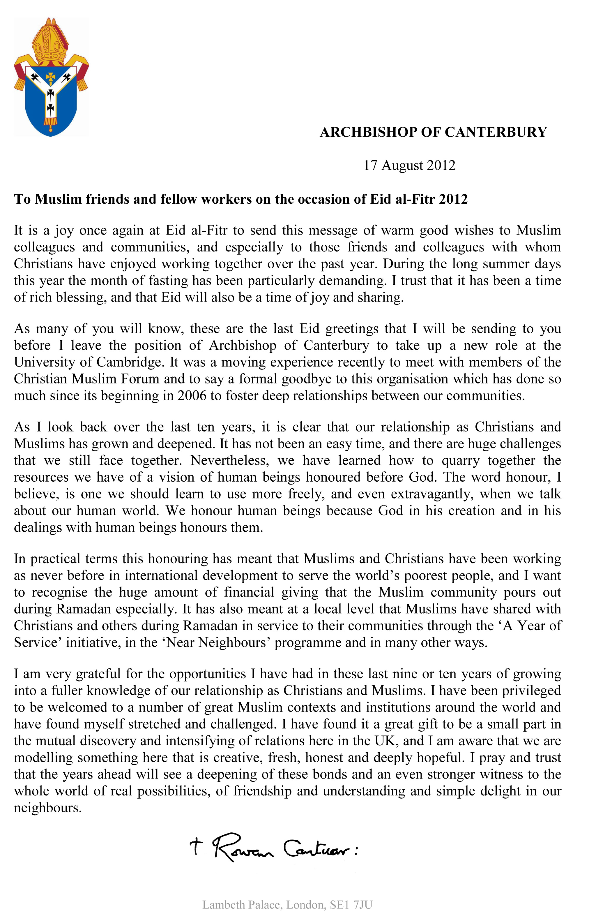 Download Letter Eid Al-Fitr Greeting - eid-al-fitr-2012-message-from-the-archbishop-of-canterbury  Pictures_576063 .jpg?w\u003d662