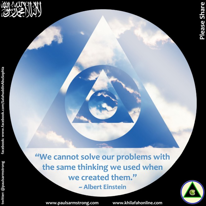 Circles, triangles, Einstein quote about problem solving