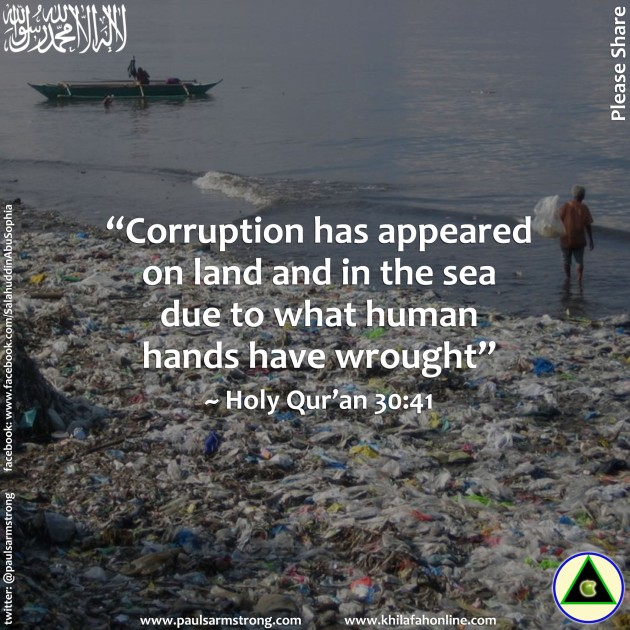 Corruption has appeared on land and in the sea due to what human