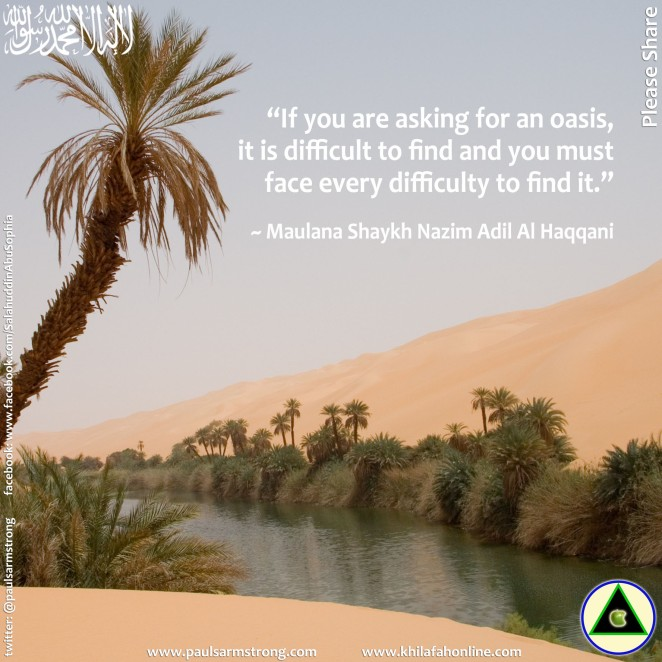 Shaykh Nazim - If you are asking for an oasis