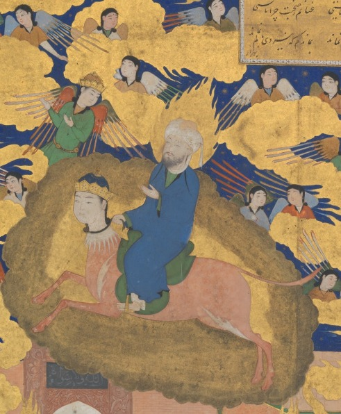 """""""The Mi'raj or The Night Flight of Muhammad on his Steed Buraq"""", 16th Century CE http://www.metmuseum.org/Collections/search-the-collections/452670"""