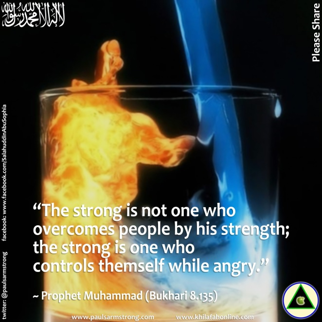 The strong is one who controls themself while angry - Prophet Mu