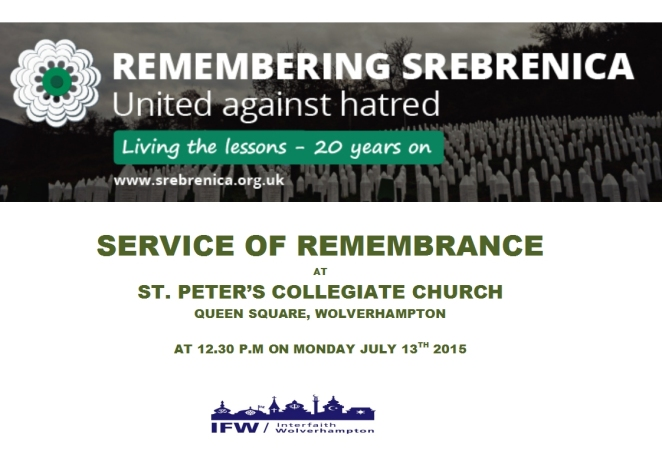 Flier for Srebrenica service - July 2015