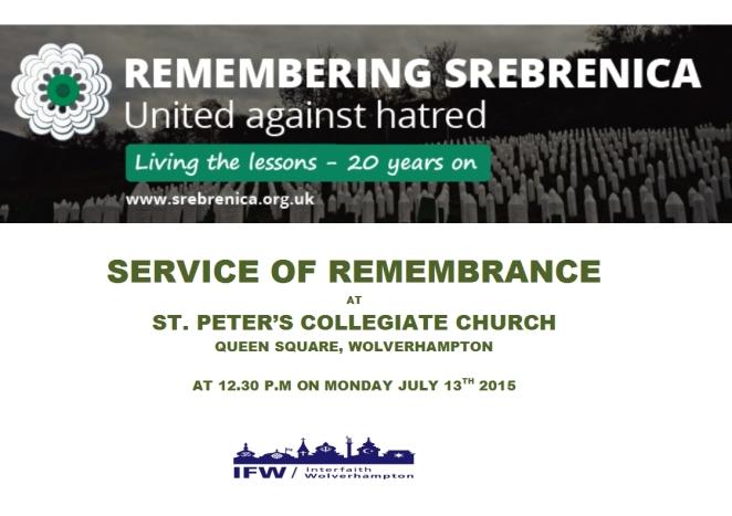 Flier for Srebrenica service - July 2015