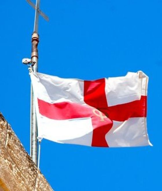 St George's flag being flown in Palestine